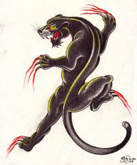 "Crawling Panther Tattoo - One of the most enduring and powerful tattoo symbols of the 20th century has a history which few tattoo devotees might suspect. The ""black panther"" or ""crawling panther"" is a form of the big cat whose contours make it ideal for placement over the rolling and fluid musculature of the human body, primarily on arms and legs. Tattoo artist Amund Dietzel must have recognized that primal appeal when he adapted it for tattooing. Known as ""the master in Milwaukee"", Dietzel…"