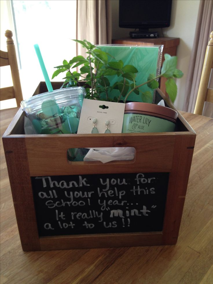 """End of the year Room Mom thank you gift.  Thank you for all of your help this school year...it really """"mint"""" a lot to us!! Stuff a box with all things """"mint""""."""