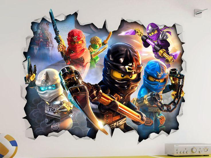 Lego ninjago 3d look wall vinyl sticker poster childrens for Poster mural 4 murs