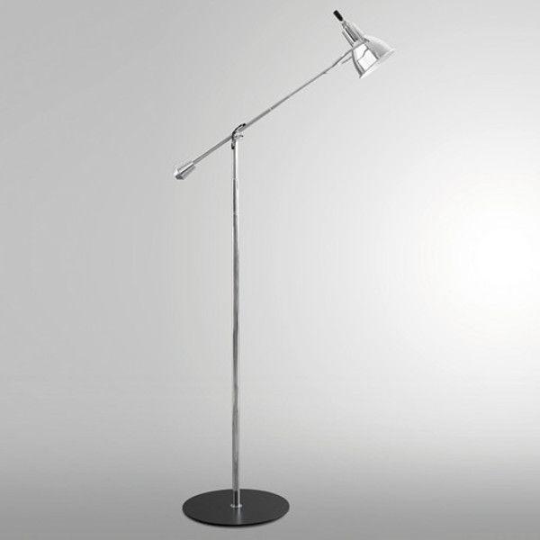 Art. 1959/TTribute to E. Buquet Lampada da terra con base in acciaio laccato e braccio in acciaio cromato, lavorato a mano. Parabola in alluminio cromato, superficie interna bianca.