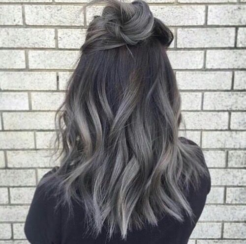 Dark Grey Hair | Ombre Hair | Tousled Lob