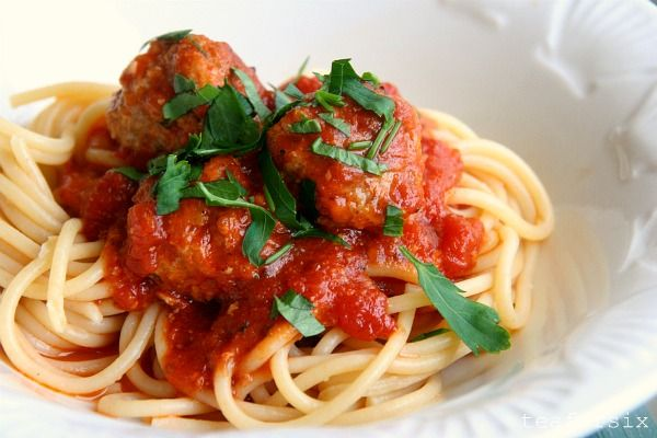 Pork and Veal Meatballs with Slow Cooked Tomato Sauce