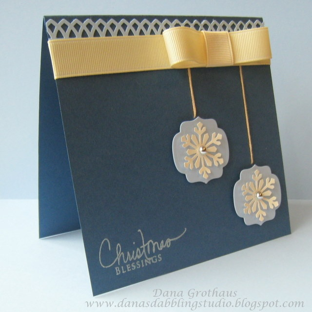 luv these snowflake ornaments on the blue and yellow  card...