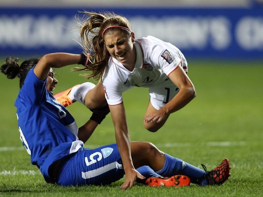 Alex Morgan sidelined with an ankle injury.