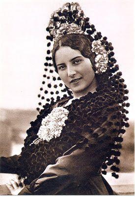 Imágenes vintage gratis / Free vintage images: Postal antigua. Dama andaluza