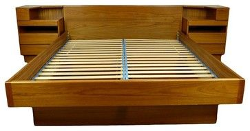 Mid Century Queen Size Platform Bed Danish By Scan Coll - midcentury - Platform Beds - Atlanta - Retropassion21