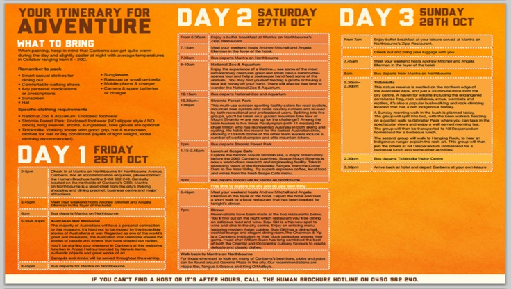 Stoked to have my itinerary for #humanbrochure weekend in Canberra!