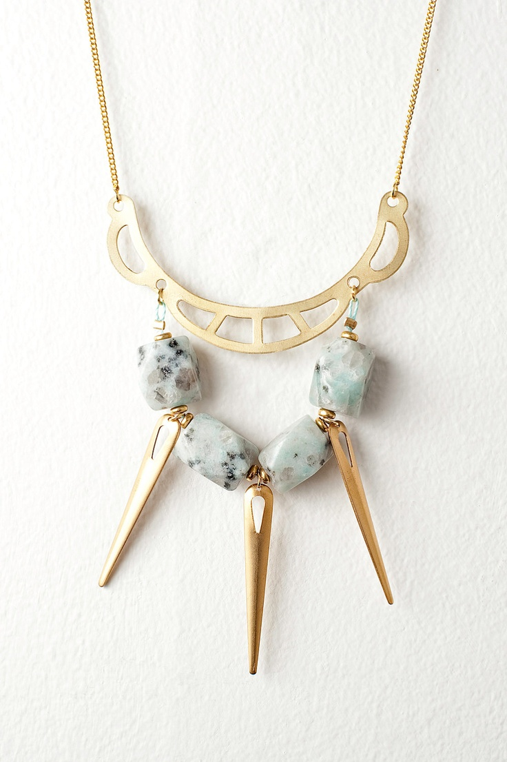 Bold Gold Statement Necklace with Mint Dalmatian Jasper and Gold Spikes $35.00, via Etsy.