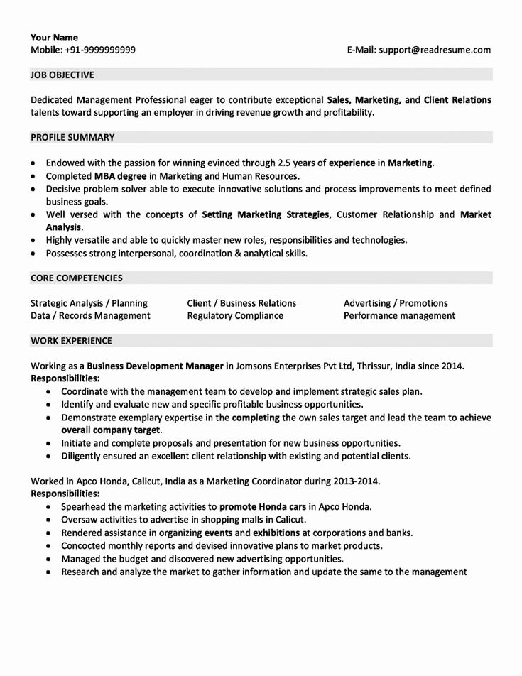 post mba resume examples