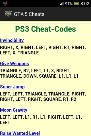 Image result for gta 5 cheat codes ps3 offline download