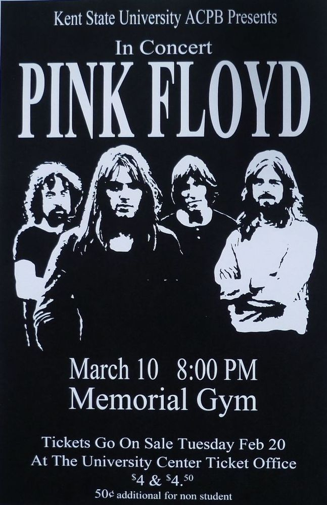 11x17 Pink Floyd Live 1973 Kent State University Concert Poster