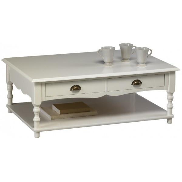 Table Basse Blanche de Style Anglais - Beaux Meubles Pas Chers