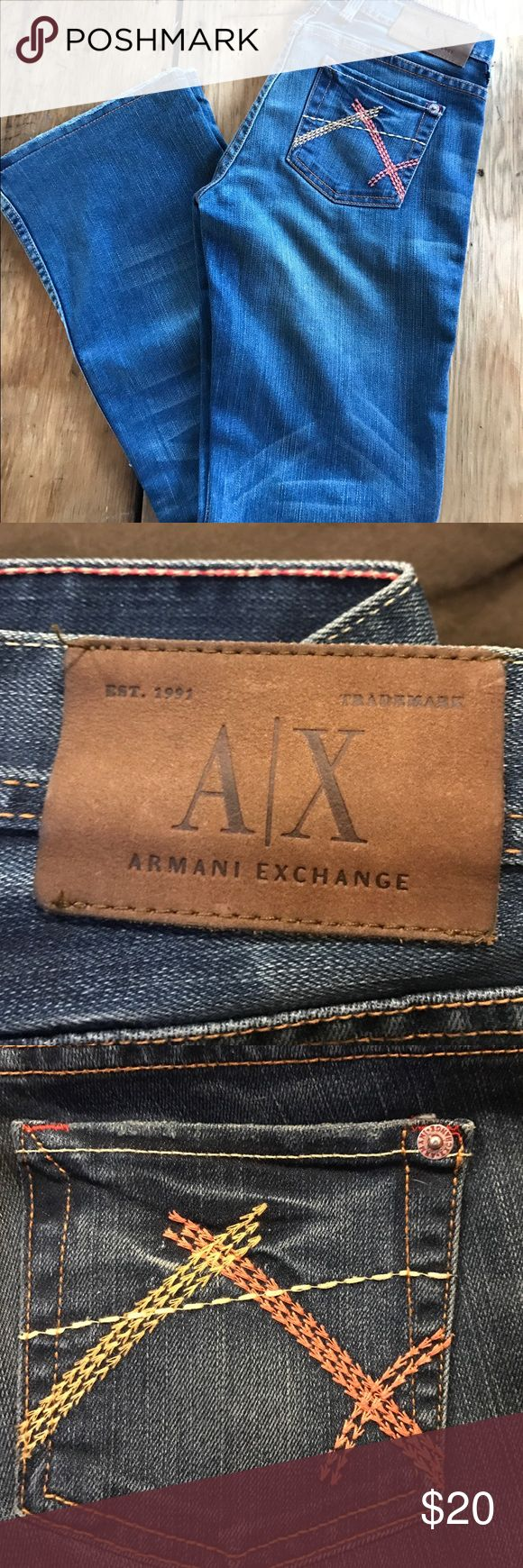Armani Exchange jeans These like new Armani Exchange jeans come from a smoke and pet free home. Slip these on with a pair of boots and you'll feel like you are walking to a cafe during fashion week in Milan. Fine Italian craftsmanship at its best. Enjoy! Ciao Bella! A/X Armani Exchange Jeans Boot Cut