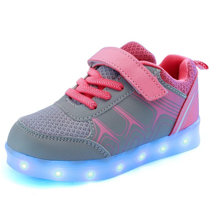 SAGUARO® 7 Colors LED Light Up Shoes USB Charging Luminous Flashing Sneaker Fashion Low Top Glow Sportschuhe for Women Men Kids Boys Girls, Rosa 38