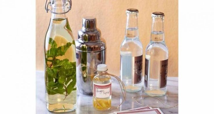 Mint-Flavored Vodka and Homemade Ginger Simple Syrup