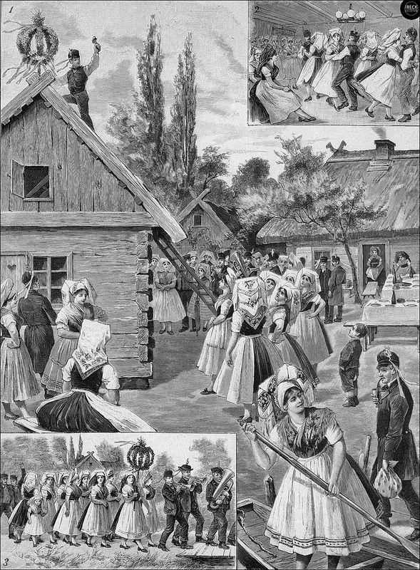 Richtfest im Spreewald - Holzstich nach einer Originalskizze von W. Busch 1890 | Flickr - Photo Sharing!