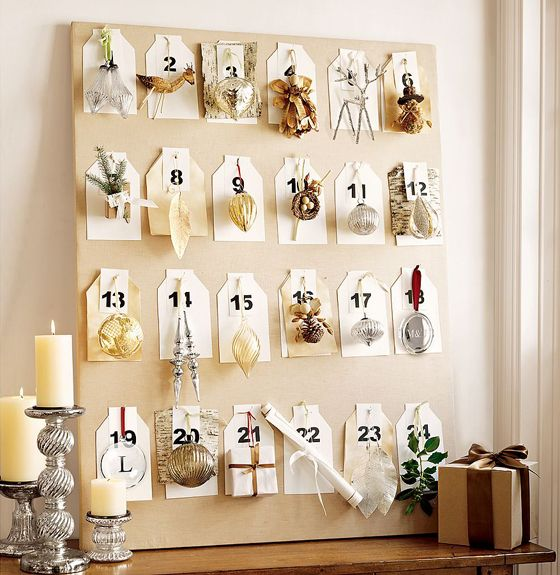 Lovely idea - give the children a bare tree on the landing and they hang the decorations each day. On Christmas Eve they could place the star. Great alternative to chocolates!