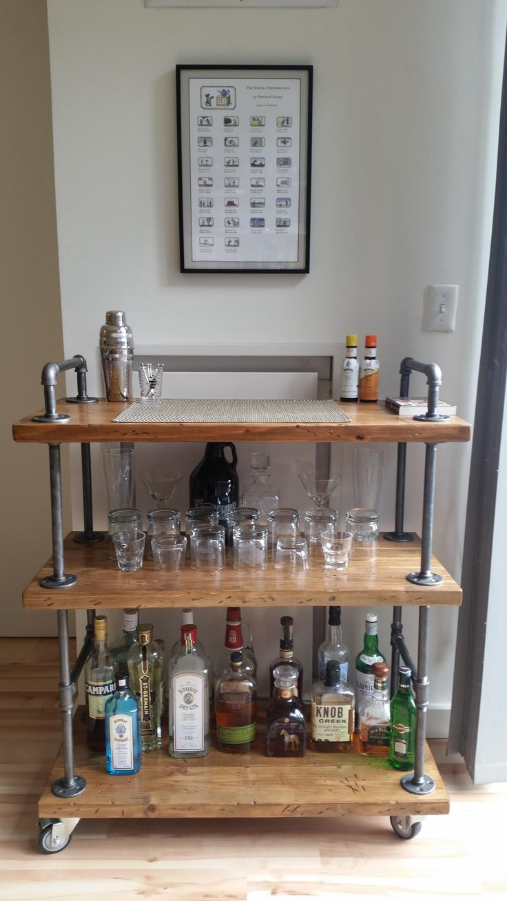 Industrial Bar Cart (wood & black pipe) - Imgur