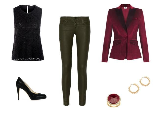 Holiday Style - Holiday Office Party Outfit - Velvet Blazer and Leather Look Leggings