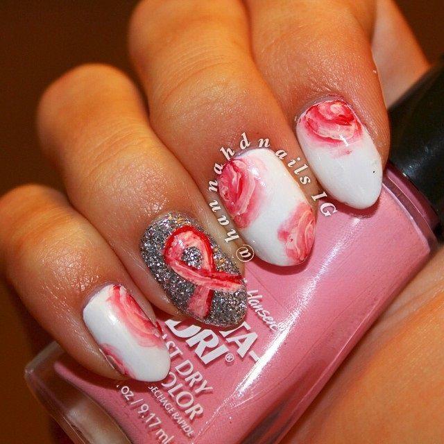 Brustkrebs-Bewusstseins-Nagelkunst – rosafarbene Nägel für Oktober-Brustkrebs-Awarenes…   – Think pink