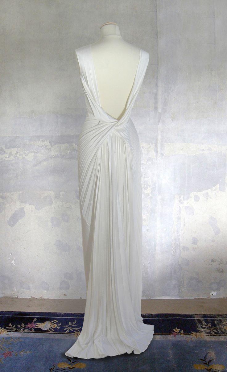 Remshardt-rückenfreies 30er Jahre Brautkleid Hochzeitskleid aus plissiertem Seidenjersey-backless 30s dress in slinky pleated silk jersey
