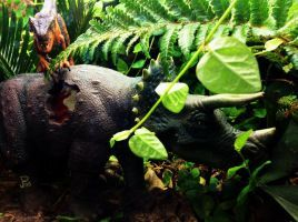 Triceratops losing :(  Jurassic Park Diorama by Katie9999