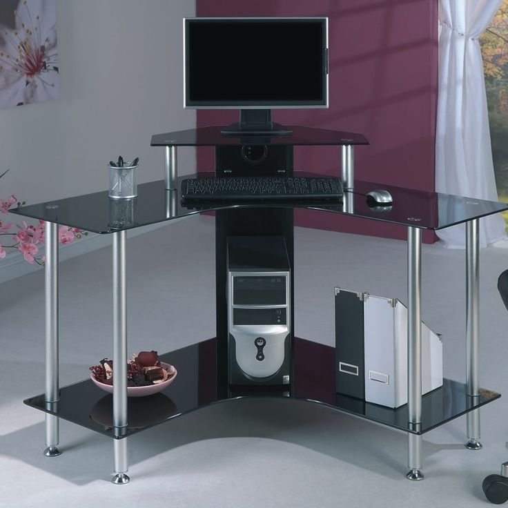 Black Glass Computer Corner Desk