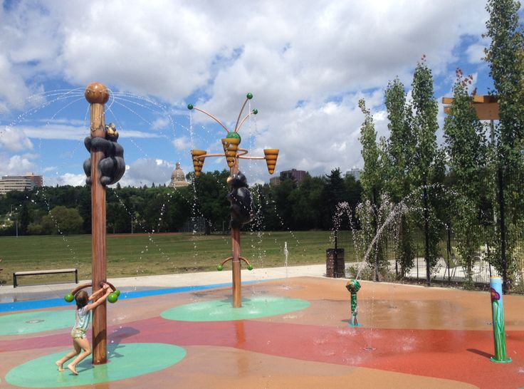 Kinsmen Spray Park in Edmonton. It's a fun way to cool off and you've got the Grizzly Bear Playground right there to play in when you're cooled off.