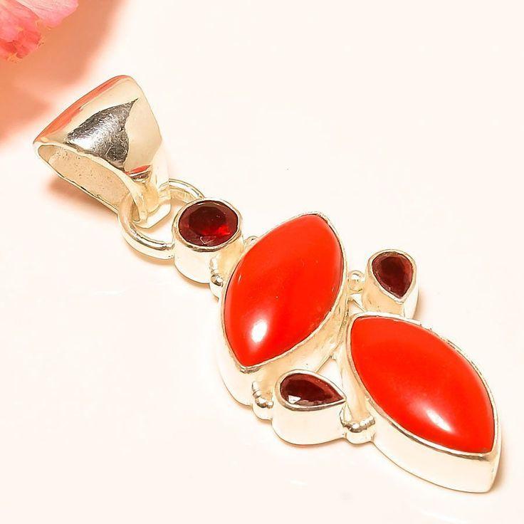 "Italiancoral, Garnet 925 Sterling Silver Jewelry Pendant 2.17"" #Handmade #Pendant"