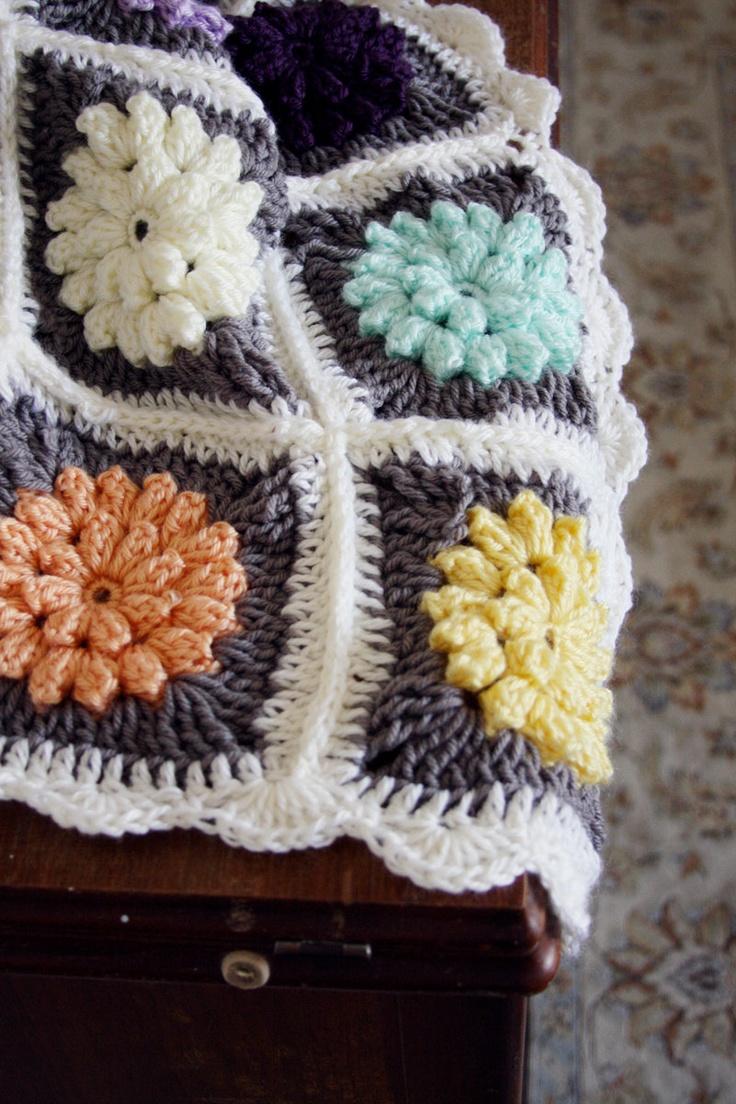 baby crochet blanket / crochet flower afghan / baby shower gift set / cream crochet newborn beanie / multicolor/ quirky / granny square. $48.00, via Etsy.
