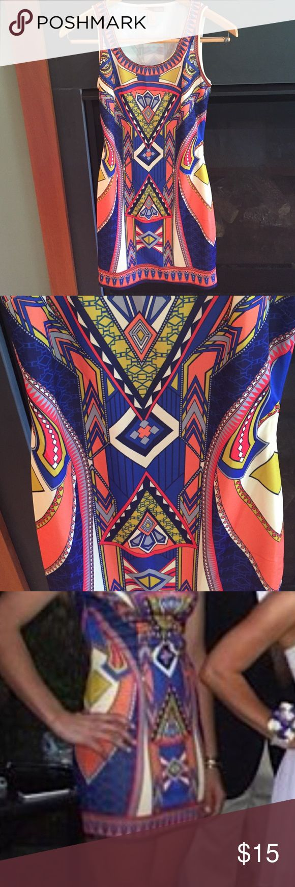 Bright patterned bodycon dress Coral and royal blue bodycon dress in fun geometric pattern by forever21. Been worn once! Forever 21 Dresses Mini
