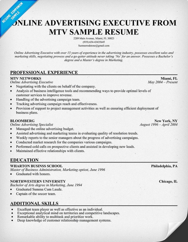 Online Advertising Executive #MTV Resume Example (resumecompanion - advertising representative sample resume