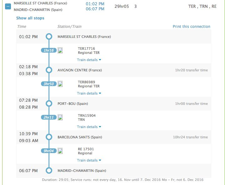 The Interrail timetable suggests this route to avoid reservation fees.