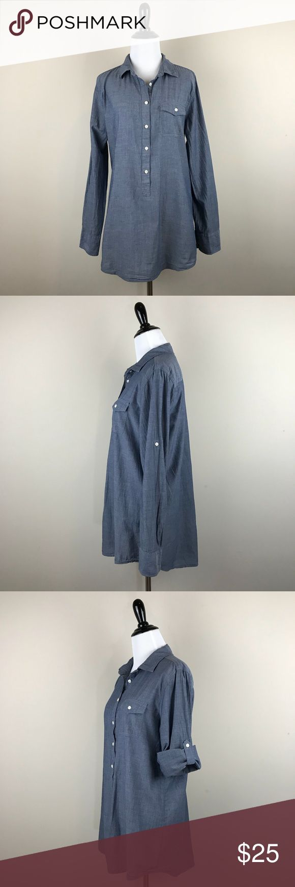 """J. Crew Chambray Popover Tunic J. Crew Chambray Popover Tunic Size Medium Roll Tab Sleeve Chest Pocket Materials: 100% cotton Pre-owned in excellent condition!  Measurements taken laying flat: underarm to underarm- 20.5"""" center back length- 31""""  Location- E11 J.Crew Factory Tops Tunics"""