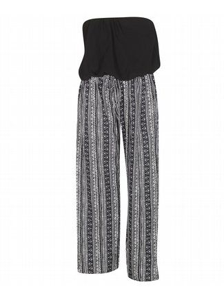 Palazzo Aztec Jumpsuit $45  http://www.alight.com/fashion-web-palazzo-aztec-jumpsuit.html  Sleek jumpsuit has a bloused bodice with elastic neckline and waist. Waist has a skinny tie closure. Bodice is lined.