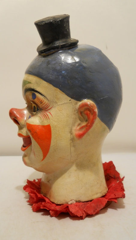 Rare early paper maché clown head candy container - Germany