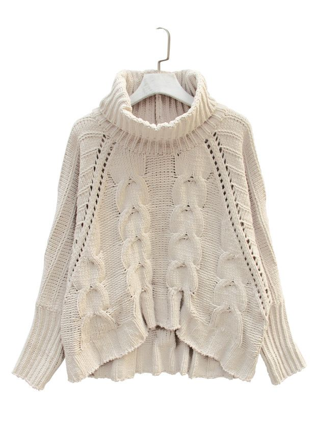 High Neck Chunky Cable Long Sleeve Sweater