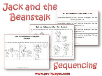 Jack and the Beanstalk sequencing pictures via www.pre-kpages.com/jack/