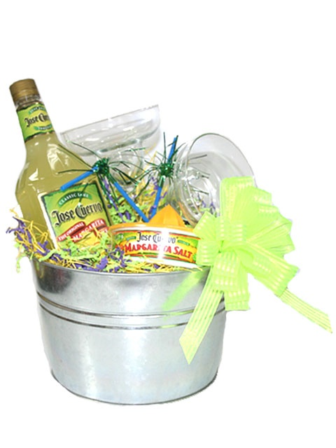 Margarita Gift Basket   Item Number:2011103193 Get your trip started with a little incentive....Margarita party pail is filled with a bottle of Jose Cuervo Margarita mix, Jose Cuervo Rimmer salt and two Margarita glasses. Pick your own tequila to add to this basket and get the party started! Make is special, make it your own margarita basket.