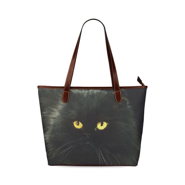 Black Cat Shoulder Tote Bag (Model 1646)