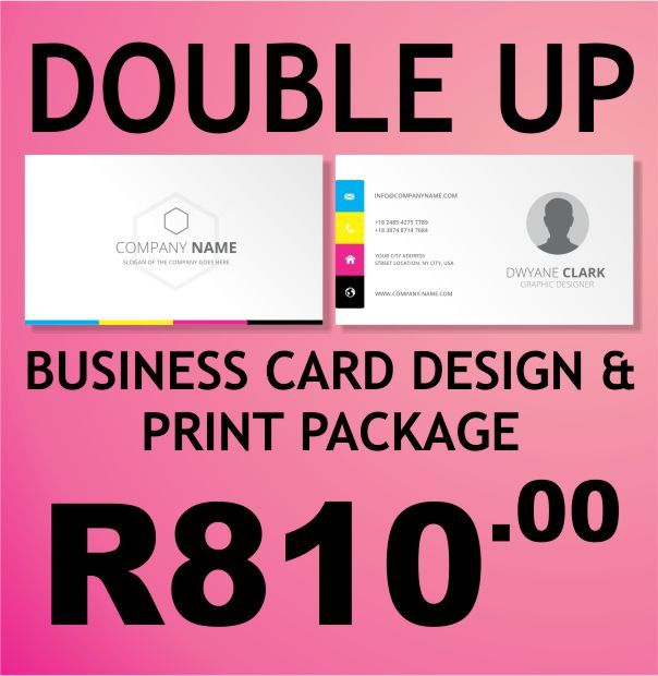 The AdWorx Design Studio's Double Up package. You get 1000 Business Cards printed in Full Colour (CMYK) on both sides on 350gram paper. UV Gloss coat on one side. A unique and captivating layout and design and final print is 90 x 50mm with square corners. Qty: 500 Business Card run quantity per name. Lead Time: Approximately 7-10 working days. Delivery: Free delivery in Klerksdorp, Orkney, Stilfontein and Hartebeesfontein. Contact us for delivery rates for the rest of South Africa.