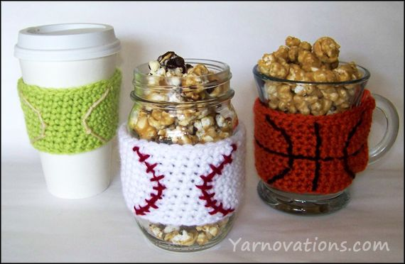Take me out to the ball game with a crochet baseball cozy and caramel corn recipe!