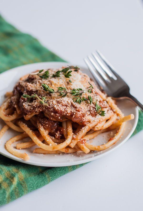 Bucatini with Porcini Mushroom Ragu | bloggingoverthyme.com