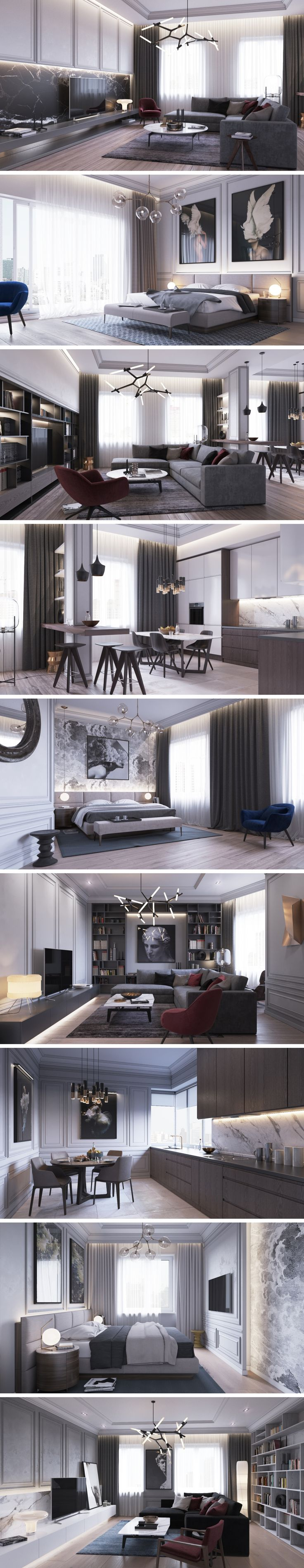 some really nice elements in this apartment lindsey adelman lighting panelling and artwork