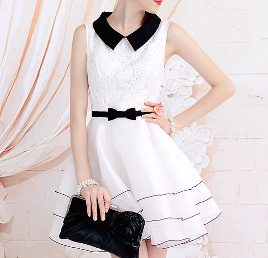 Wholesale Vintage Doll Collar Splicing Floral Embroidery Dress With A Bow Tie For Women (WHITE,S), Vintage Dresses - Rosewholesale.com