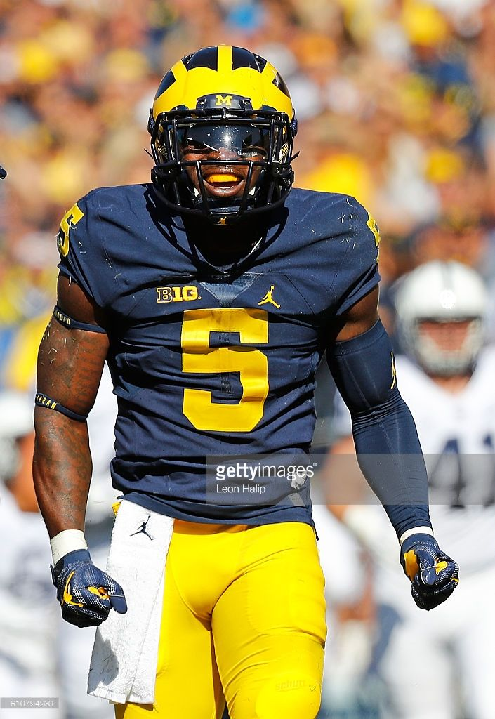 fbb2dd55ad6 Jabrill Peppers #5 of the Michigan Wolverines looks to the sidelines during  the first quarter of the game against the Penn State Nit…