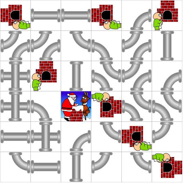 『煙突配管サンタ』 煙突の配管を回転 & つなげて消していく落ち物パズルだよっ。サンタと子供を繋げて消去していってネ。