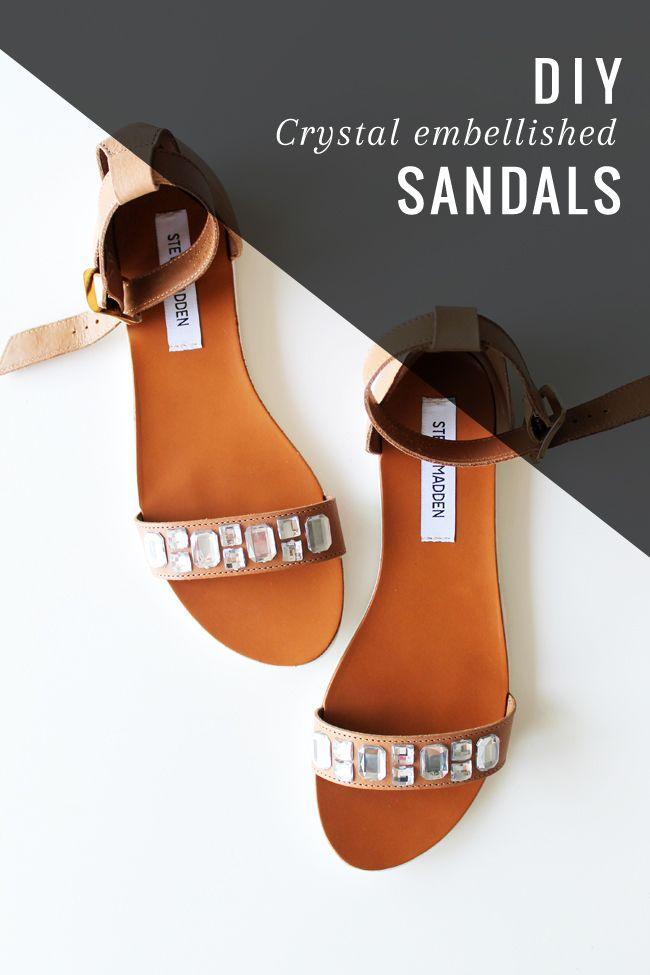 DIY: Crystal Embellished Sandals | http://hellonatural.co/diy-crystal-embellished-sandals/