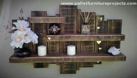 Again this multi purposed wooden pallet recycled shelf comes your ways. This multi layered wood pallet shelf could be the main display hub of your room, you can display a number of decoration pieces on it, its random and uneven pattern makes it of the classiest wall shelves.