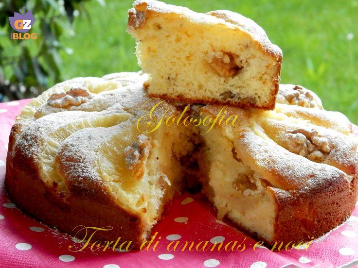 Torta+con+ananas+e+noci,+ricetta+soffice+con+yogurt